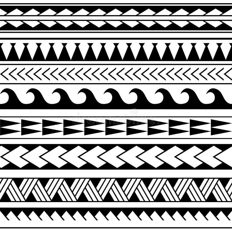 在毛利人纹身花刺样式的传染媒介种族无缝的样式 与装饰种族元素的几何边界 水平的样式 库存例证
