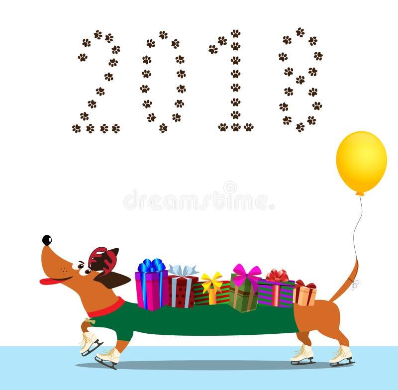 在毛线衣的滑冰的动画片长的达克斯猎犬,有在t的气球的 库存例证