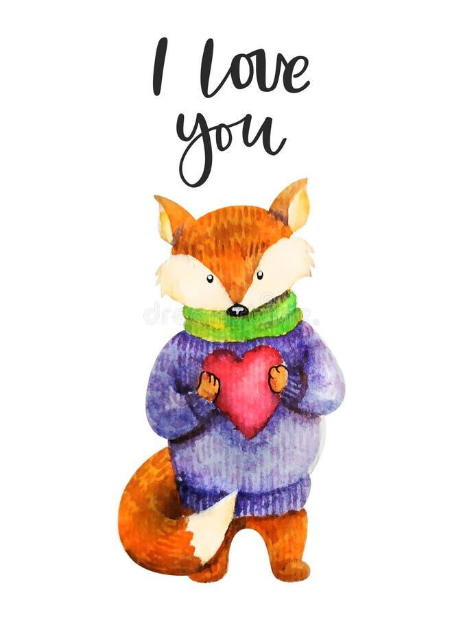 在毛线衣的Fox有心脏的 在上写字的题字我爱你 逗人喜爱的水彩狐狸 逗人喜爱手拉的水彩 皇族释放例证
