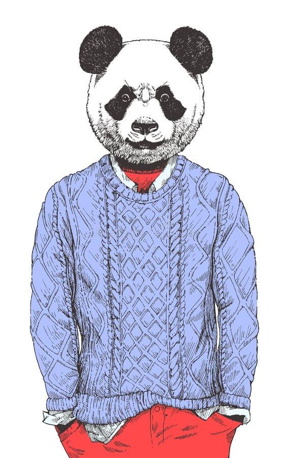 在毛线衣装饰的熊猫画象,手拉的例证,传染媒介 向量例证