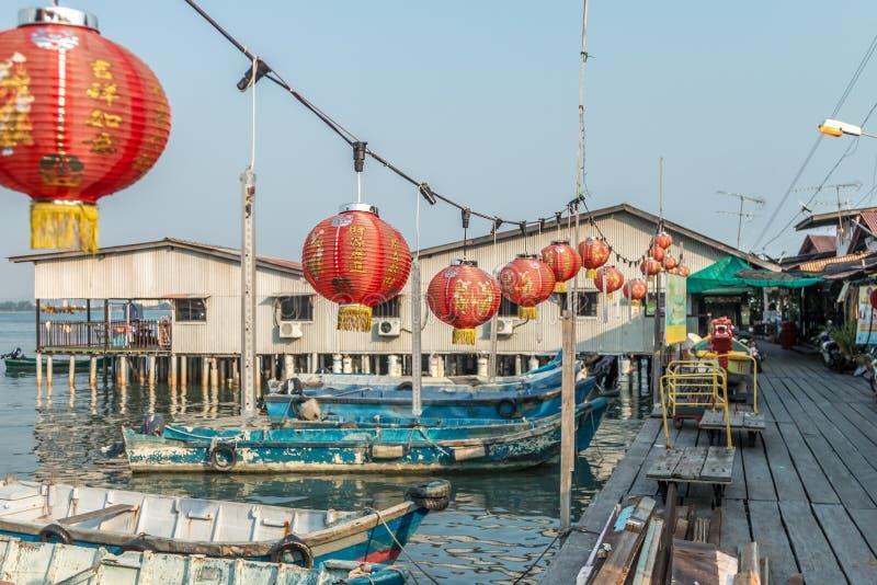 在氏族跳船的中国灯笼在乔治城, Pulau槟榔岛,马来西亚 库存图片