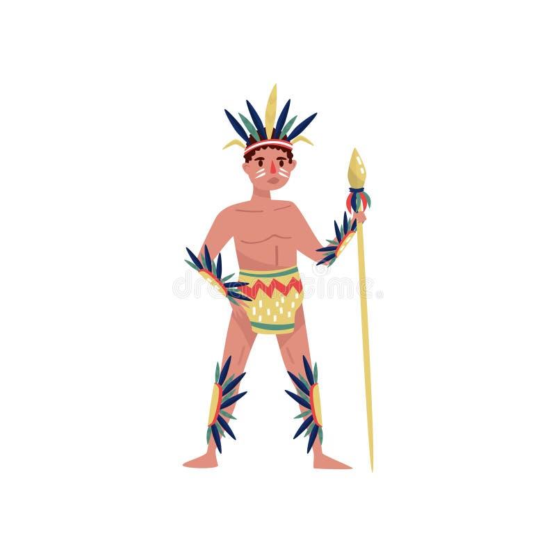 在民族服装的美洲印第安人人字符有矛在白色背景的传染媒介例证的 库存例证
