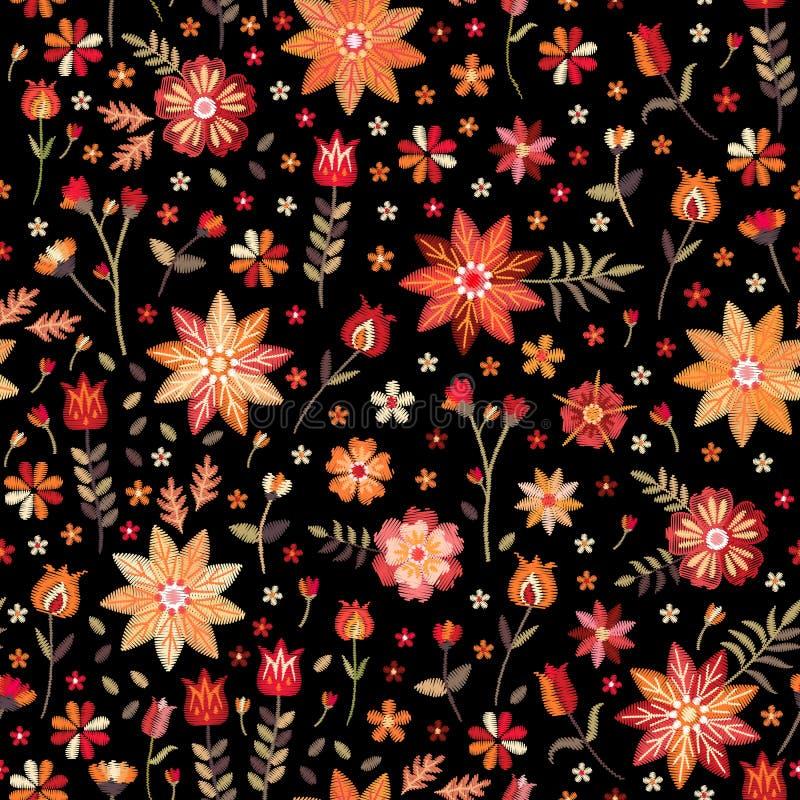 在民间样式的刺绣无缝的样式 风格化花和叶子在黑背景 r 时尚设计 向量例证