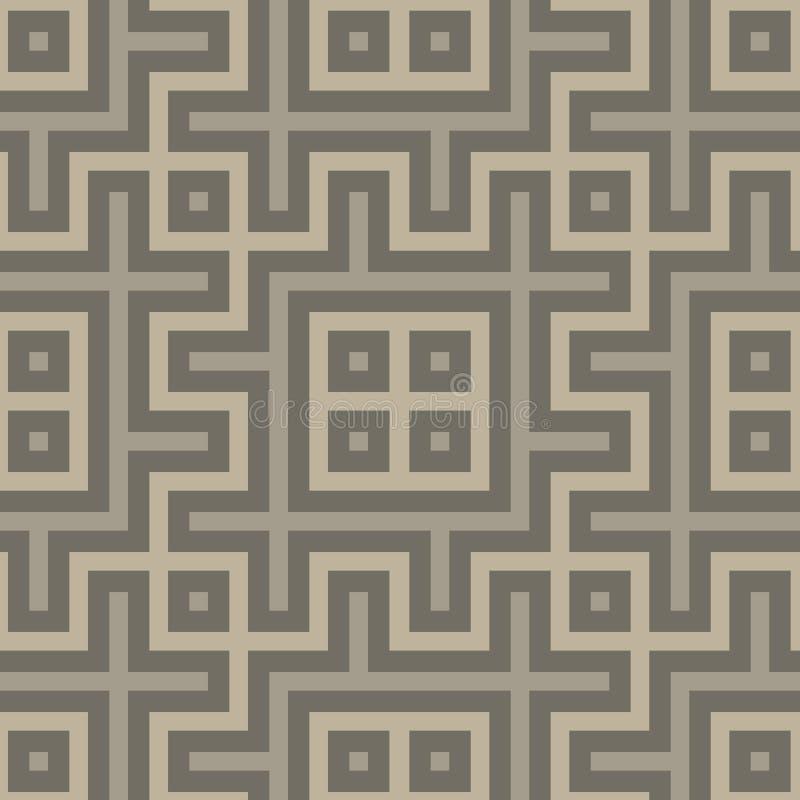 在民间样式的灰色无缝的几何样式 向量例证