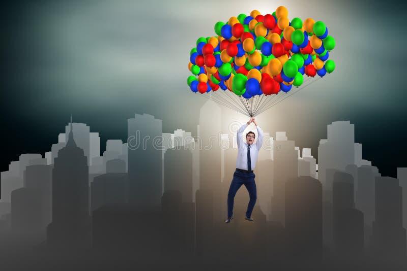 在气球的商人飞行在挑战概念 皇族释放例证