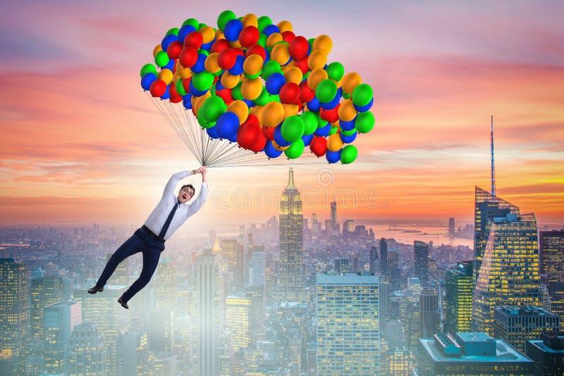 在气球的商人飞行在挑战概念 库存例证