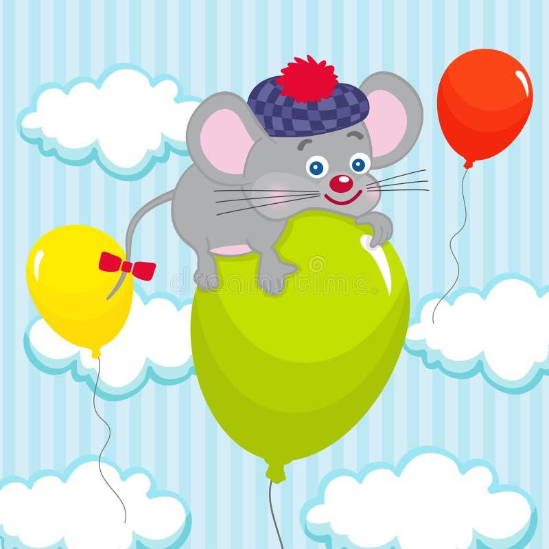 在气球的老鼠 皇族释放例证