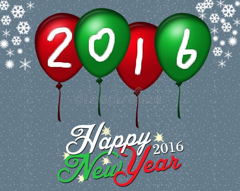 在气球背景的新年 向量例证