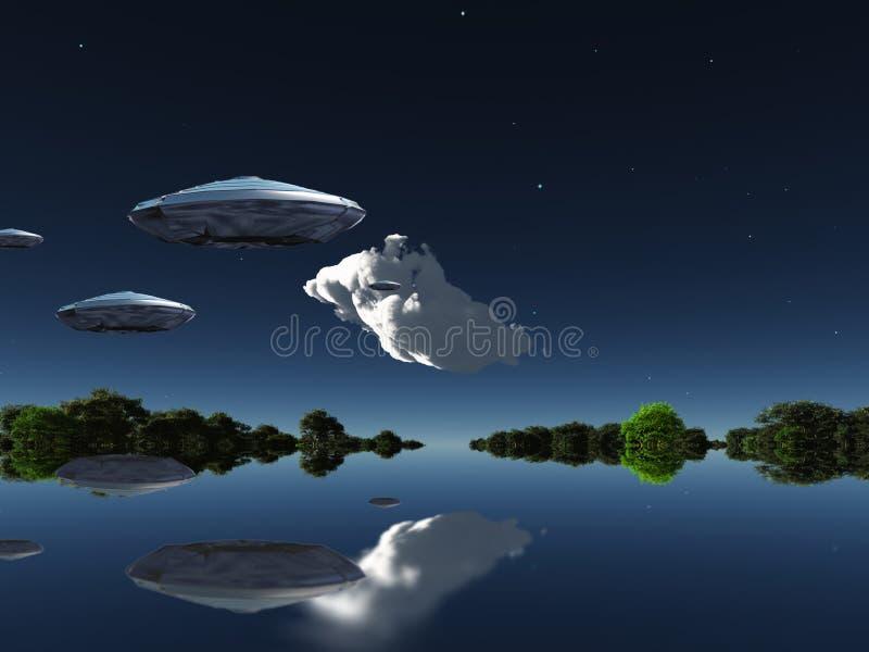 在水上乐园的航天器 向量例证