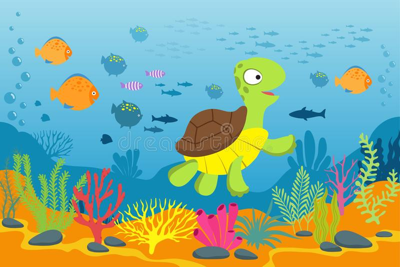 在水下的场面的乌龟 草龟、海草和鱼在海底 动画片海洋传染媒介背景 向量例证
