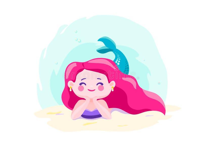 在水下的海底的小的逗人喜爱的美人鱼谎言 字符酷的设计 海海洋题材 也corel凹道例证向量 库存例证