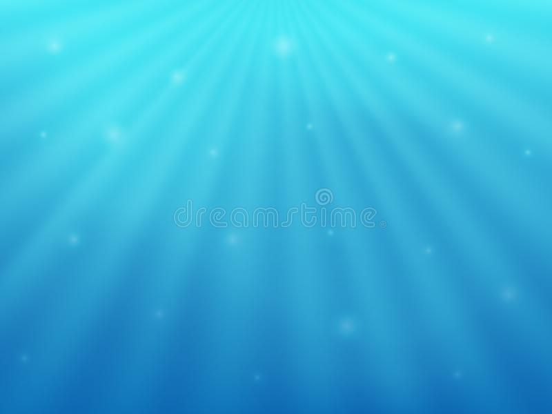 在水下的美好的背景 蓝色海和太阳的光芒 库存例证