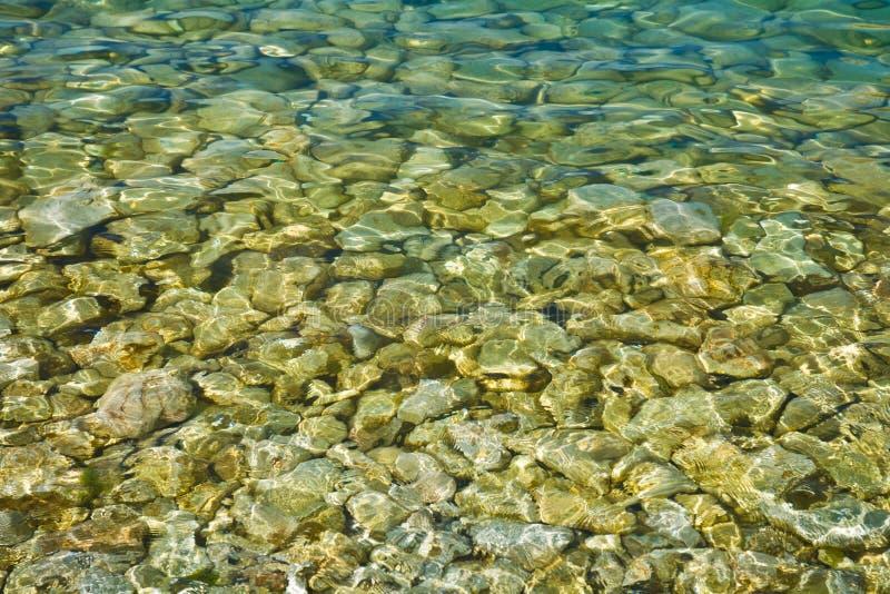 在水之下的小卵石 免版税库存照片