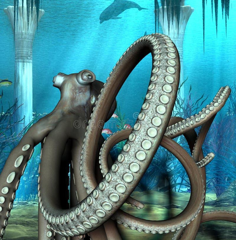 在水之下的章鱼 皇族释放例证