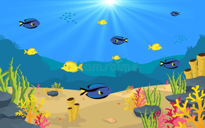 在水之下的鱼 向量例证
