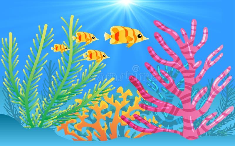 在水之下的鱼 库存例证