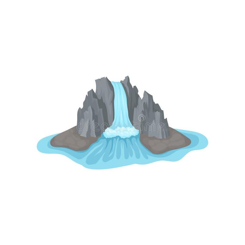 在水包围的海岛上的灰色落矶山脉 大瀑布 流动比赛的风景元素 平的传染媒介象 皇族释放例证