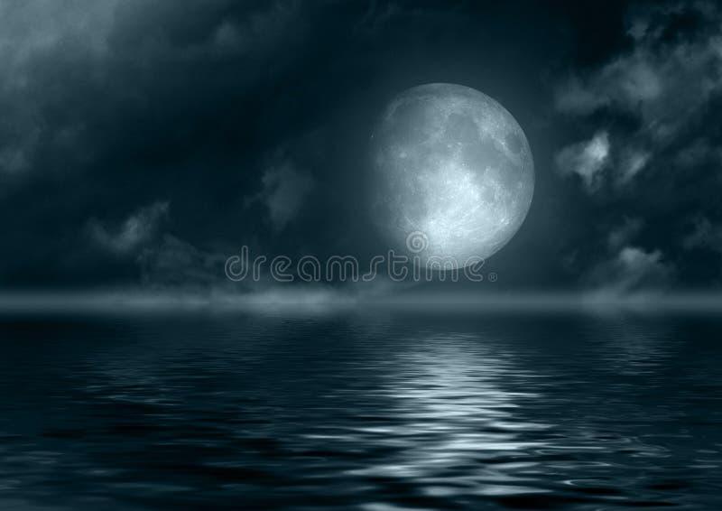 在水反映的满月 皇族释放例证