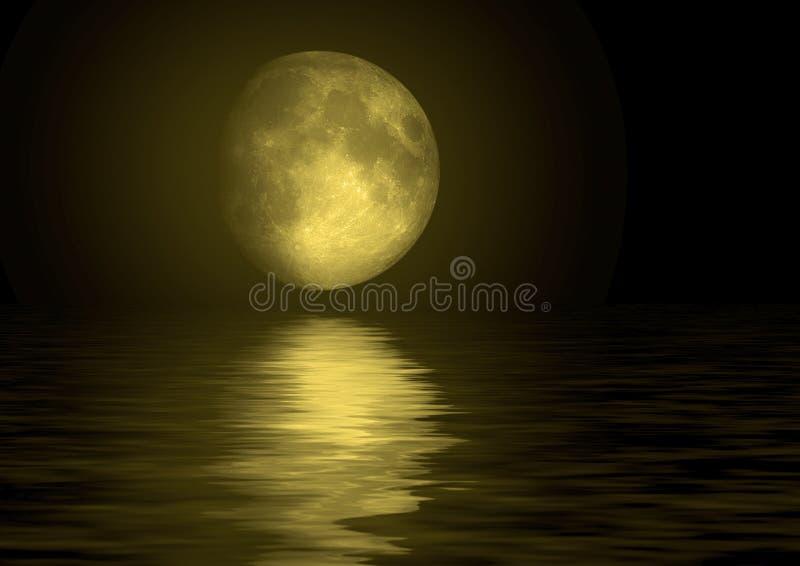 在水反映的满月 向量例证