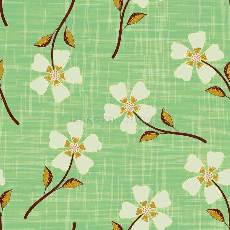 在水彩作用的淡色黄色手拉的花铭刻了绿色背景 与葡萄酒的无缝的传染媒介样式 皇族释放例证