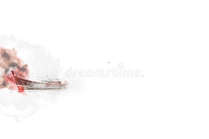 在水彩使痛苦的背景的抽象长的小船渔 免版税库存图片