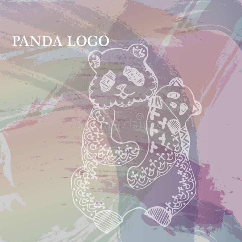 在水彩柔和的淡色彩背景的被绘的白色熊猫  乱画的样式 向量例证