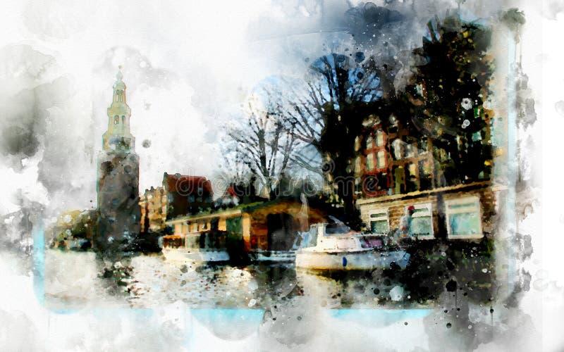 在水彩样式的城市生活 向量例证