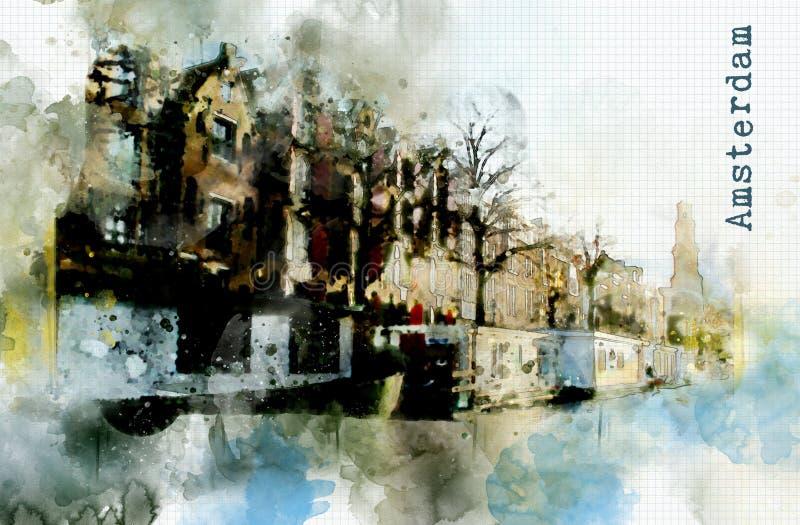 在水彩样式的城市生活 库存例证