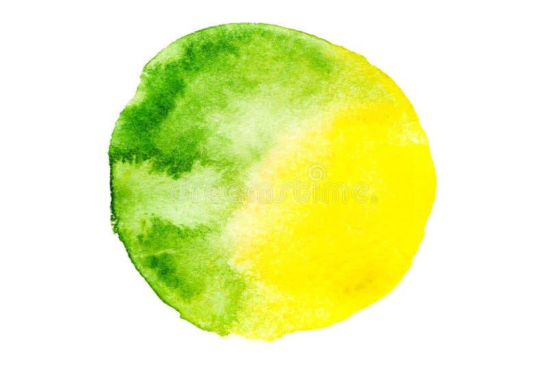 在水彩样式的绿色圆的抽象背景 图库摄影