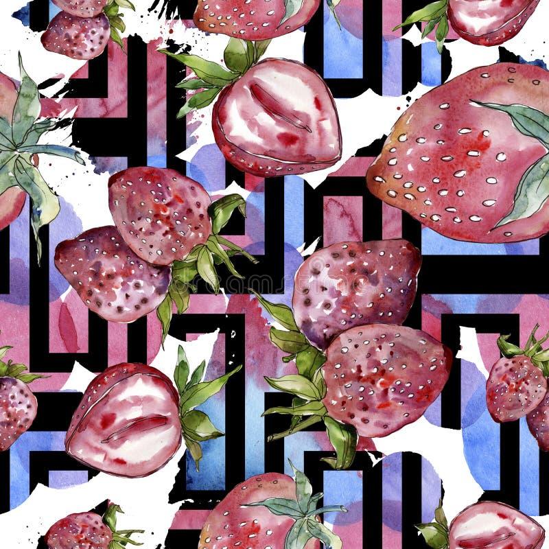 在水彩样式的草莓健康食物被隔绝的 水彩例证集合 无缝的背景模式 库存图片