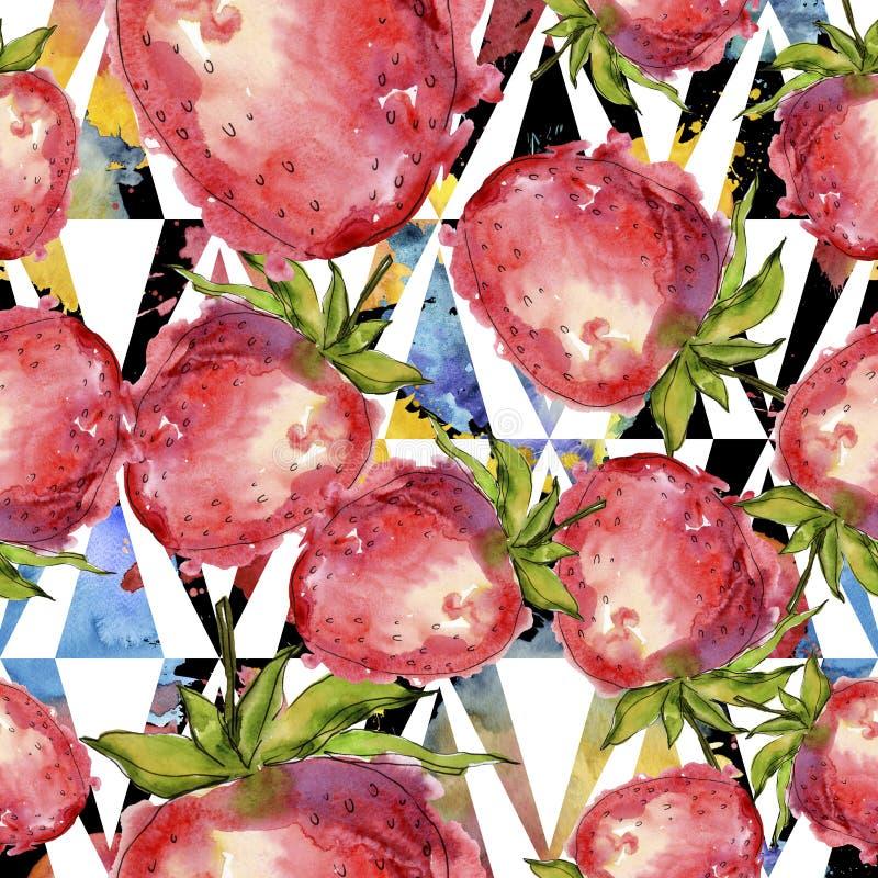 在水彩样式的草莓健康食物被隔绝的 水彩例证集合 无缝的背景模式 图库摄影