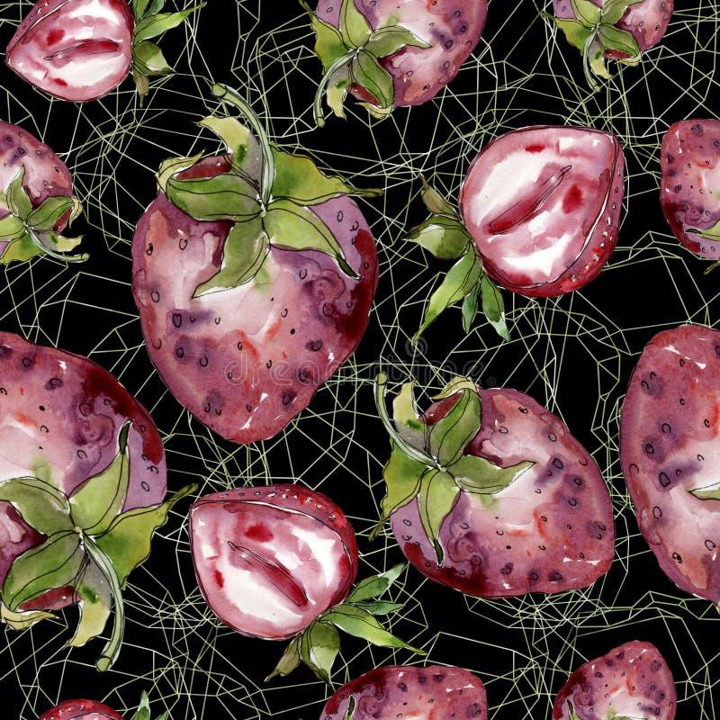 在水彩样式的草莓健康食物被隔绝的 水彩例证集合 无缝的背景模式 免版税库存图片