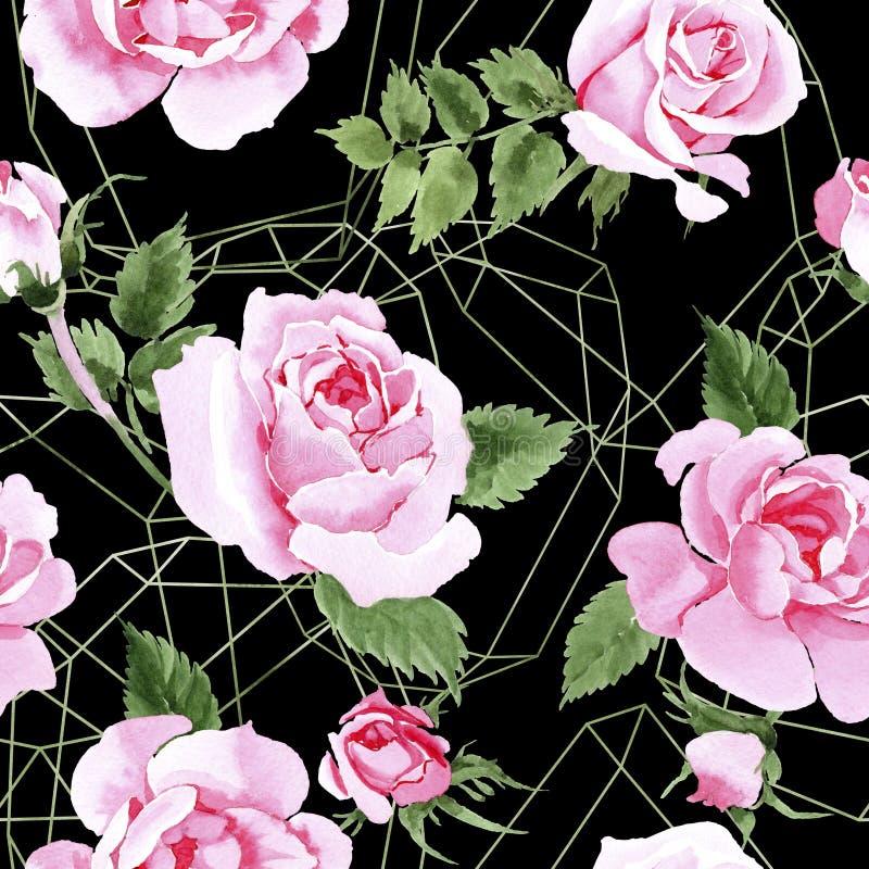 在水彩样式的野花茶玫瑰色花纹花样. 玻色子, 现有量.