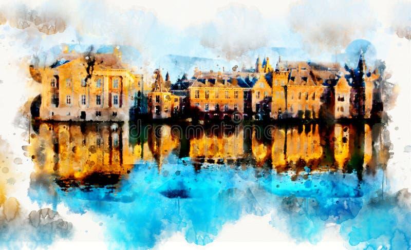 在水彩样式的镇生活 皇族释放例证