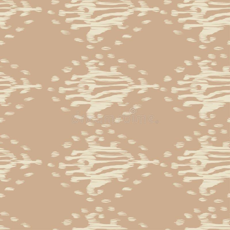 在水彩样式的Ikat无缝的漂泊种族米黄传染媒介样式 水彩ikat东方人装饰品 库存例证