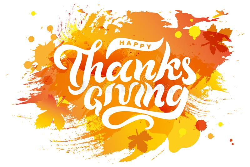 在水彩模仿背景的手拉的愉快的感恩文本 向量例证