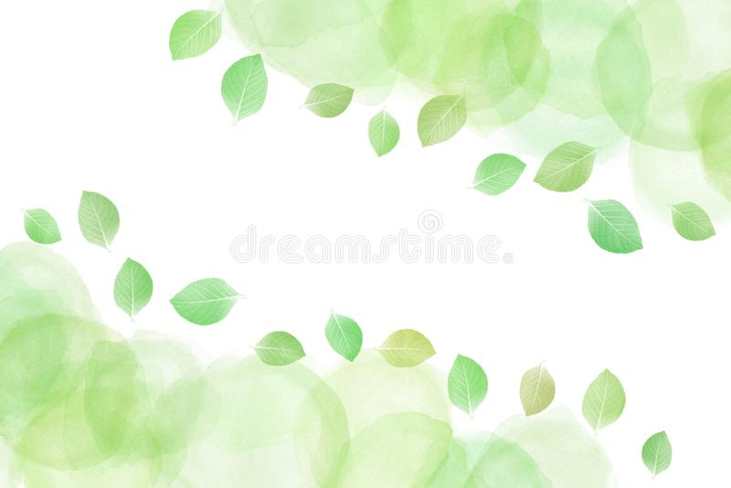 在水彩油漆背景的新绿色叶子摘要 向量例证