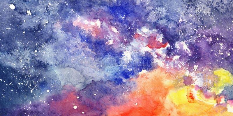 在水彩的抽象繁星之夜天空 库存例证