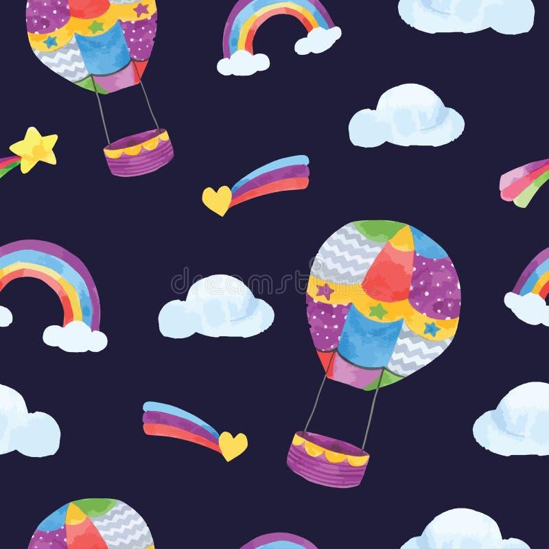 在水彩的气球空气和云彩无缝的样式 库存例证
