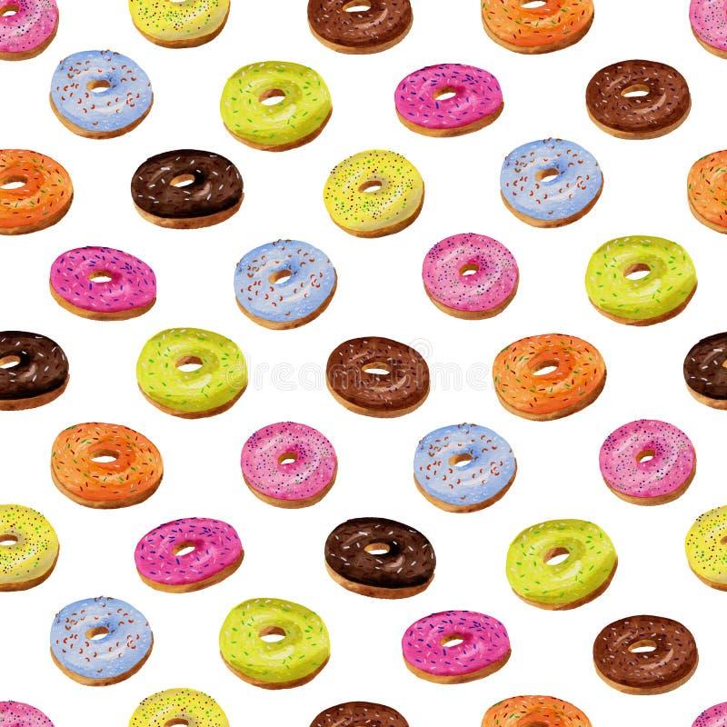在水彩的给上釉的油炸圈饼无缝的样式在白色backgroun 免版税库存图片