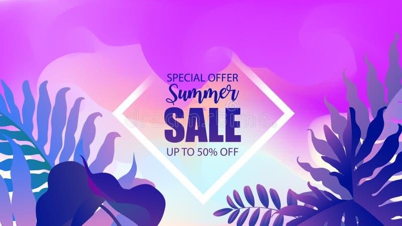 在水彩的题字夏天销售有热带植物背景 网横幅或海报电子商务的,网店, 向量例证