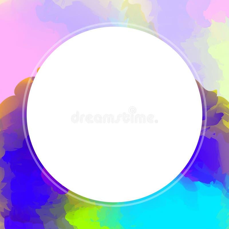 在水彩纹理艺术的圈子白色横幅背景的,白色圈子空的框架水彩桃红色,圈子横幅艺术 皇族释放例证