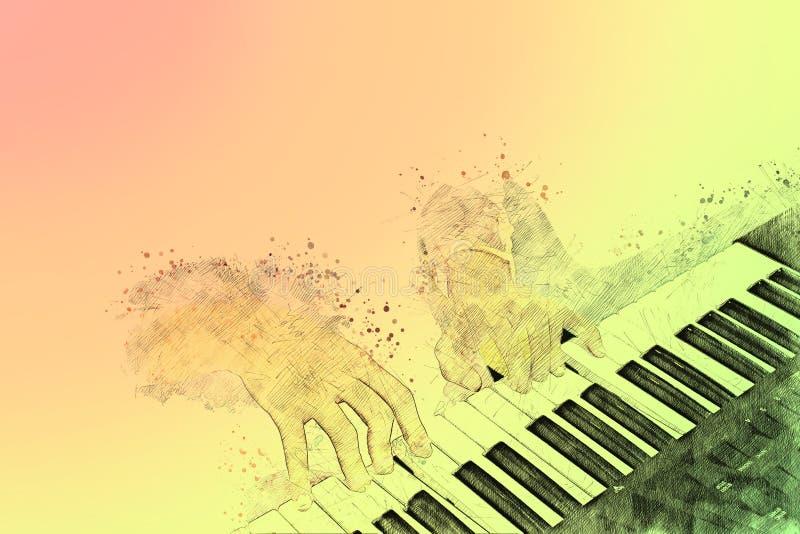 在水彩绘画背景和数字式例证的钢琴 免版税库存图片