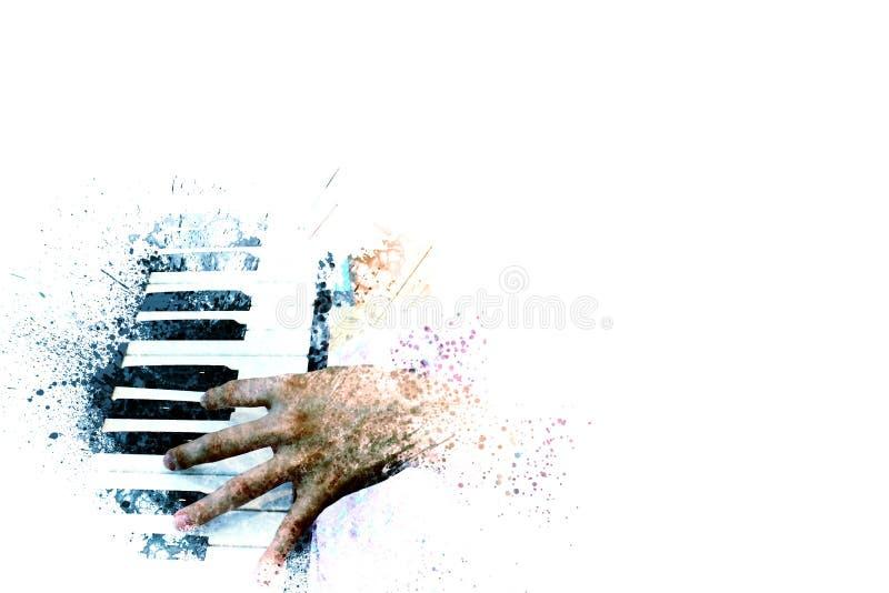 在水彩绘画背景和数字式例证的钢琴 库存图片