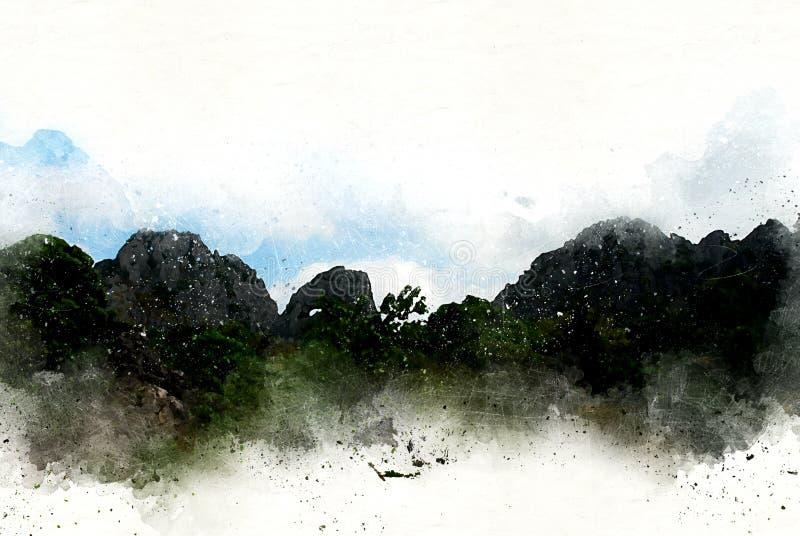 在水彩绘画背景的抽象五颜六色的山脉 向量例证