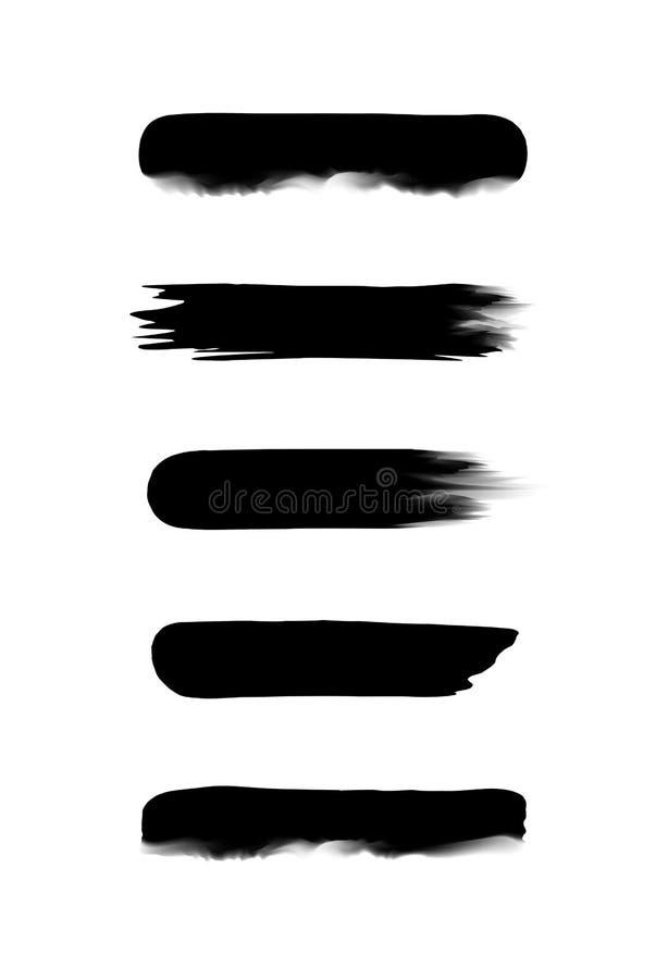 在水彩绘的设置黑条纹隔绝在白色背景,黑水彩刷子冲程集合,例证油漆 皇族释放例证