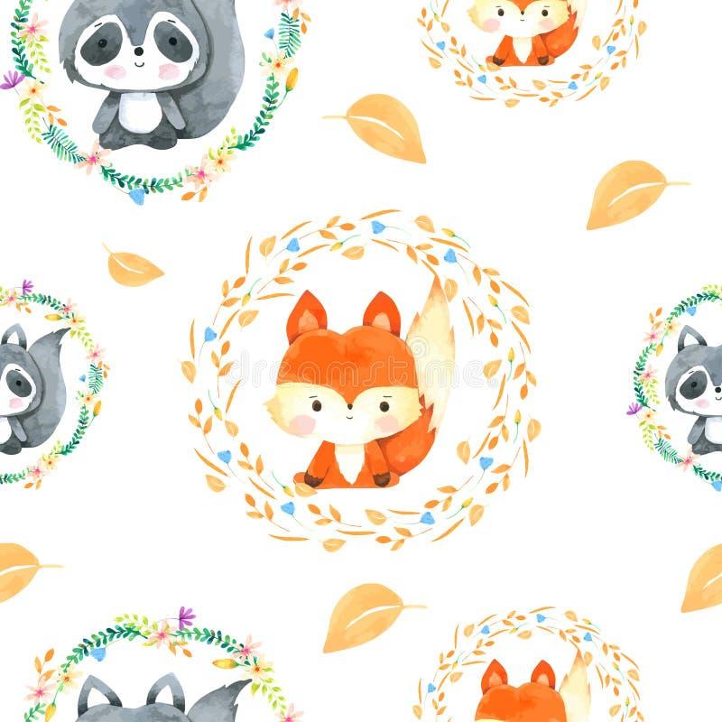 在水彩绘的Fox和浣熊无缝样式手拉 向量例证