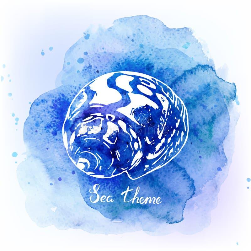 在水彩蓝色背景的贝壳 背景峡湾光芒海运星期日 也corel凹道例证向量 库存例证