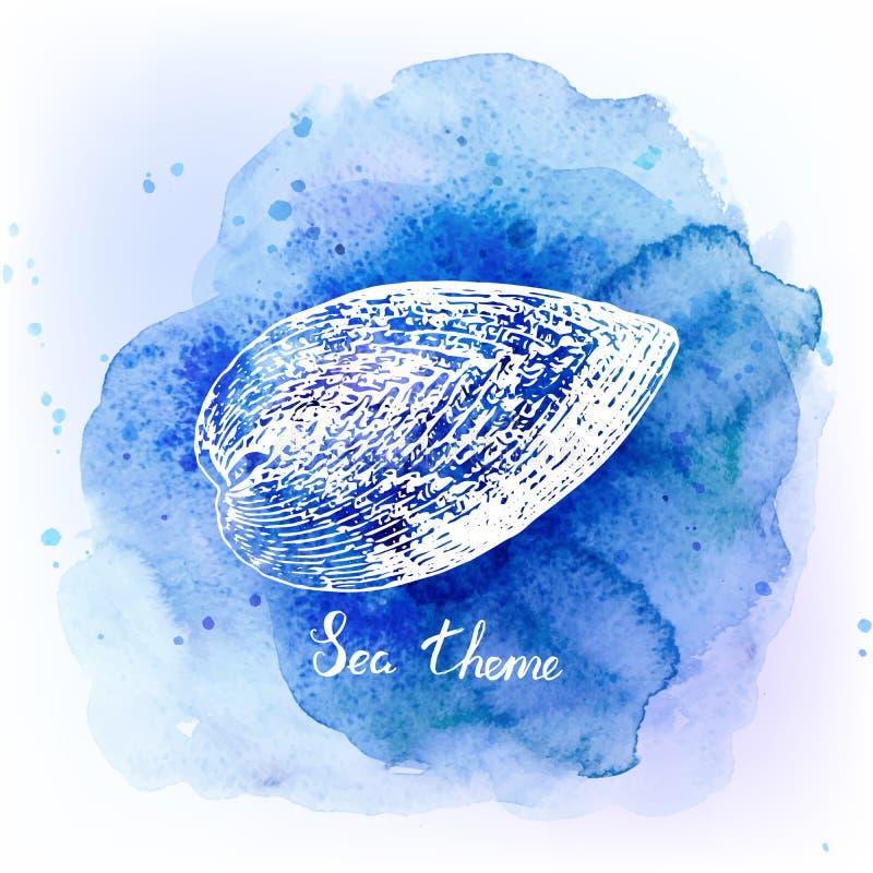 在水彩蓝色背景的贝壳 背景峡湾光芒海运星期日 也corel凹道例证向量 皇族释放例证