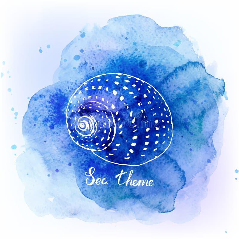 在水彩蓝色背景的贝壳 背景峡湾光芒海运星期日 也corel凹道例证向量 向量例证
